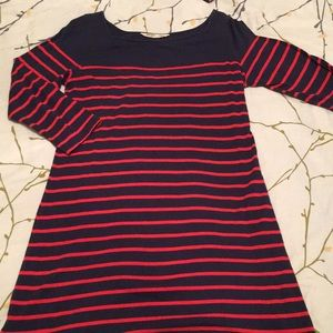 Navy dress with red stripes and long sleeves